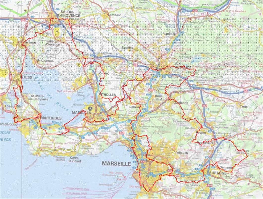 Parcours gr2013 marseille provence aparthotel entre - Distance entre marseille et salon de provence ...